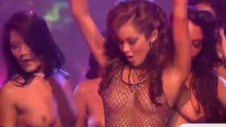 Group of hot strippers have fun on stage